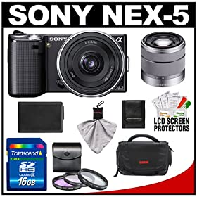 Sony Alpha NEX-5 Digital Camera Body & E 16mm f/2.8 & 18-55mm f/3.5-5.6 OSS Zoom Lens (Black) with 16GB Card + Battery + Case + Accessory Kit