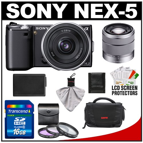 Sony Alpha NEX-5 Digital Camera Body & E 16mm f/2.8 & 18-55mm f/3.5-5.6 OSS Zoom Lens (Black) with 16GB Card + Battery + Case + Accessory KitSony Alpha NEX-5 Digital Camera Body & E 16mm f/2.8 & 18-55mm f/3.5-5.6 OSS Zoom Lens (Black) with 16GB Card + Battery + Case + Accessory Kit