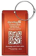 Dynotag® Web/GPS Enabled QR Smart Aluminum Convertible Luggage Tag w. Steel Loop (Electric Orange)