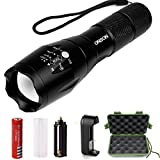 ONSON LED Flashlight,1000 Lumen Zoomable and Waterproof LED Outdoor Handheld Flashlight,Adjustable Focus-5 Modes Torch,Rechargeable 18650 Lithium Ion Battery and Charger