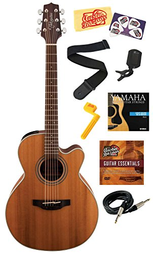Takamine Gn20Ce Nex Cutaway Acoustic-Electric Guitar Bundle With Instrument Cable, Strings, Tuner, Strap, Stringwinder, Picks, Instructional Dvd, And Polishing Cloth - Natural