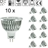 SENWEIT Pack Of 10 MR16 6W LED Bulbs Spotlight 3000K Warm White 30 Beam Angle Non Dimmable 50W Halogen Bulb Equivalent Ultra Bright Energy Saving Lamp Indoor Recessed Track Cabinet Lighting Ceiling Downlight [Energy Class A]