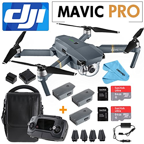 DJI Mavic Pro Collapsible Quadcopter: Includes 2 Intelligent Flight Batteries + SanDisk 64GB MicroSD Card