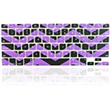"""TopCase Chevron Zig - Zag Silicone Keyboard Cover Skin for Macbook 13"""" Unibody / Macbook Pro 13"""" 15"""" 17"""" with or Without Retina Display / New Macbook Air 13"""" / Wireless Keyboard + TopCase Mouse Pad (Black n Purple)"""