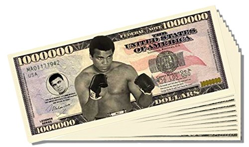 Muhammad Ali Million Dollar Bill - 25 Count with Bonus Clear Protector & Christopher Columbus Bill