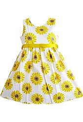 Sunny Fashion Girls Dress Yellow Sunflower School Uniform Sundress Party