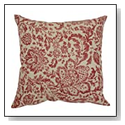 Damask Decorative Toss Pillow in Red and Tan Fabric