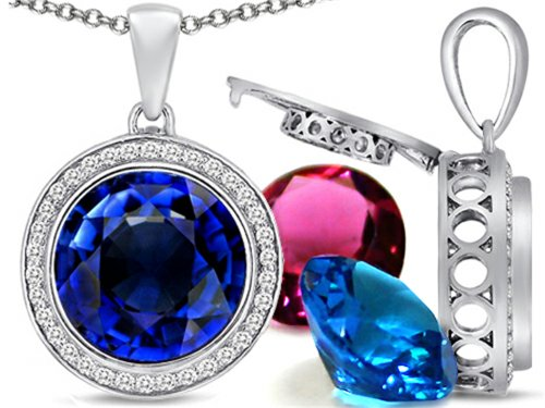 Switch-It Gems Round 12mm Simulated Sapphire Halo Pendant Necklace 12 Simulated Birth Months Sterling Silver (Switch Gem Necklace compare prices)
