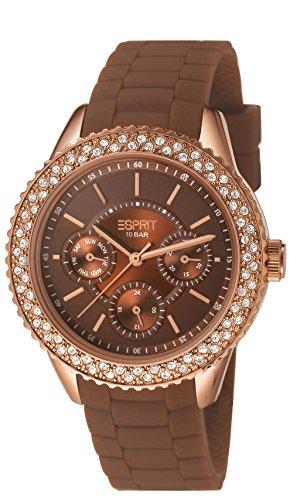 Esprit ES106222008 - Reloj analógico de cuarzo para mujer con correa de silicona, color marrón