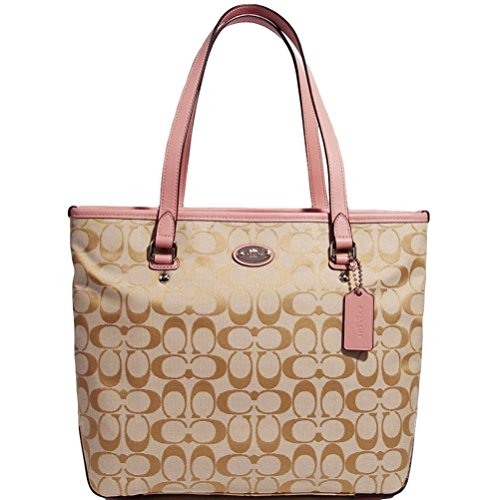 Coach Signature Zipper Tote Bag Handbag Purse (Light Khaki / Blush)