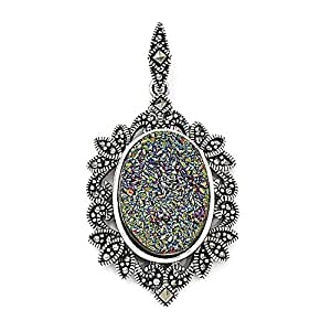 Sterling Silver Marcasite Druzy Pendant