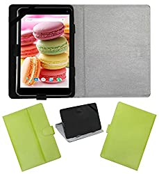 Acm Leather Flip Flap Case For Lava Ivory M4 Cover Stand Green