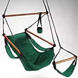Ezyoutdoor Hammock Hanging Chair Air Deluxe Sky Swing Outdoor Chair Solid Wood for Household Outdoor Travel Camping Bivouac (blue)