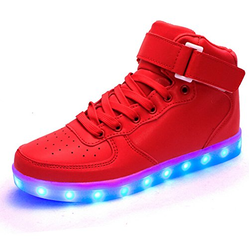 Generic Unisex Red USB Charging LED Shoes Men & Women Light up Shoes Laisure Flats Flashing Sneakers Size 9.5 Men