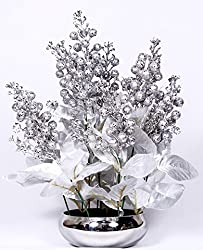 Home decor artificial flowers with pot best quality realistic natural look faux flower arrangement for home decoration and gifts Om Potters silver cherry in stainless steel pot