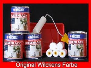 4 dosen fliesenlack inkl farbroller wilckens wei f r 32 qm. Black Bedroom Furniture Sets. Home Design Ideas