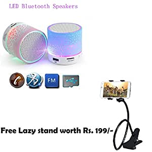Bluetooth Speaker with LED wireless audio,Portable USB MP3 Player Stereo Surround Loud with Light Support TF Card and Phone Call Receiving Feature + Mobile Lazy Stand For HTC Incredible S