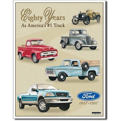 Ford Pickup Trucks 80 Year 1917-1997 Tribute Retro Vintage Tin Sign