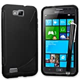 Gadget Giant ® Black S Line Gel Grip Silicone Case Cover With Free Capacitive Stylus For Samsung Ativ S I8750
