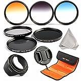 K&F Concept 52mm 6pcs Professional Lens Filter Kit Neutral Density Filters Set (ND2 ND4 ND8) + Slim Graduated Color Filter Set (Blue Orange Gray) For Nikon D3200 D5100 D3100 D5200 D5300 D3300 DSLR Cameras with 18-55mm 200-400mm Camera Lens