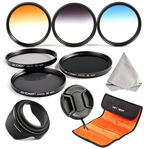 52mm filter set, K&F Concept 52mm 6pcs Professional Lens Filter Kit Neutral Density Filters Set (ND2 ND4 ND8) + Slim Graduated Color Filter Set (Blue Orange Gray) For Nikon DSLR Cameras Lens (Polarized Filter 52mm compare prices)