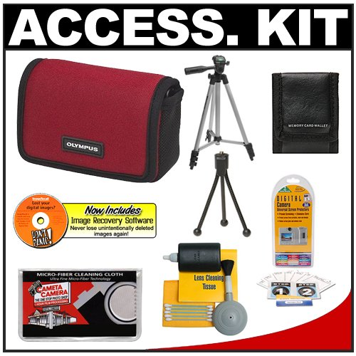 Olympus Water-Resistant Sport Neoprene Case (Red) + Tripod + Accessory Kit for FE-5010, FE-5040, FE-5050, Stylus 5010, 7010, 7030, 7040, 9010, TOUGH 8010, 6020, 3000 Digital Cameras