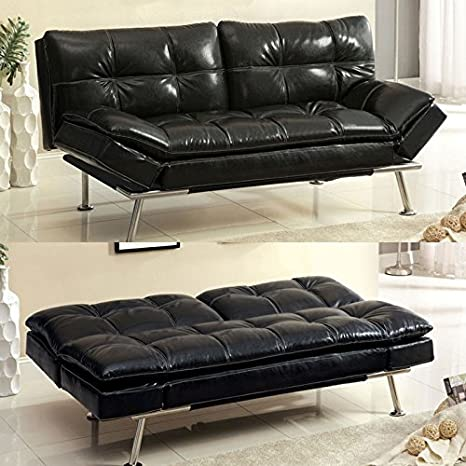 Benik Classic Contemporary Style Black Finish Futon Set