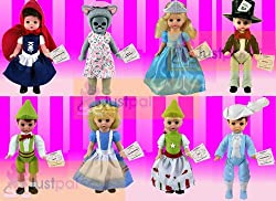 2010 McDonalds Madame Alexander Complete Sets of 8 Storybook Dolls ; Contains Alice in Wonderland , Mad Hatter , Cinderella , Prince Charming , Gretel , Hansel , Little Red Riding Hood , Wendy As the Big Bad Wolf
