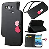Galaxy S3 Case, By Ailun,Wallet Case,PU Leather Case,Cut,Credit Card Holder,Flip Cover Skin,(Black)