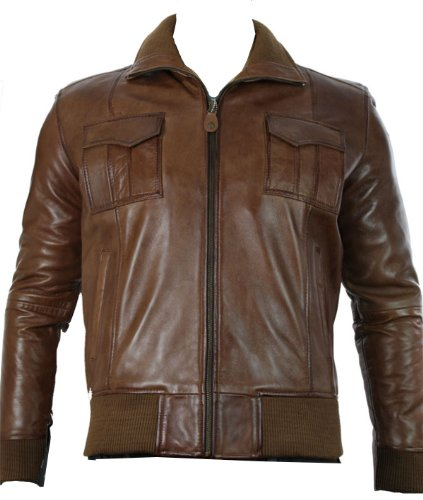 Mens Real Leather Jacket / Smart Casual / Bomber Tan Brown / Fitted (medium, Tan)