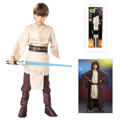 Star Wars Jedi Deluxe Child Costume including Robe and Lightsaber - Medium