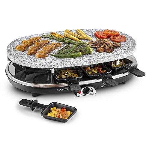 Klarstein Steaklette - Appareil à raclette 2-en-1 avec pierre à griller naturelle pour 8 personnes (1500W, 8 poelons)
