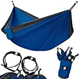 Legit Camping - Double Hammock - Lightweight Parachute Portable Hammocks for Hiking , Travel , Backpacking , Beach , Yard . Gear Includes Nylon Straps & Steel Carabiners (Charcoal/Royal)