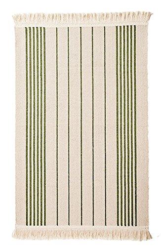 Ikea Flatwoven Area Kitchen Rug Stripes Cotton Green Throw Mat