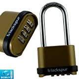 BRAND NEW - LONG SHACKLE 4 DIGIT COMBINATION PADLOCK - 57mm LONG SHACKLE - IDEAL FOR HOME, OFFICE, GARAGE, GARDEN AND MANY MORE