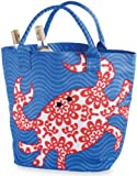 Coastal Red Crab Icon Large Insulated Cooler Canvas Tote Mud Pie