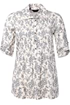 Yoursclothing Plus Size Womens Ivory And Floral Dobby Stripe Blouse Size 20 White