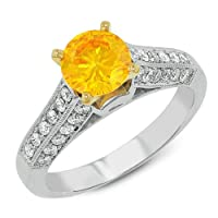 Gemesis Created Diamond, Vivid Fancy Yellow Orange, Classic Wedding Solitaire With High Side Shank & Micro Pave, 14Kt T/T, Ring, 1.58 TCWT from Renaissance Diamonds Corp.