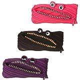 Zipit Grillz Pencil Case - 3 Pack (Color: Black, Pink, Purple)