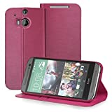 GreatShield(TM) All New HTC One (M8) 2014 Case [SHIFT LX] Premium PU Leather Wallet Flip Stand Case Cover with Card Pocket Slot for HTC One M8 2014 (Red)