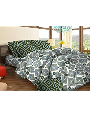 Bombay Dyeing Tuberose Cotton Double Bedsheet with 2 Pillow Covers - Blue (05688602)