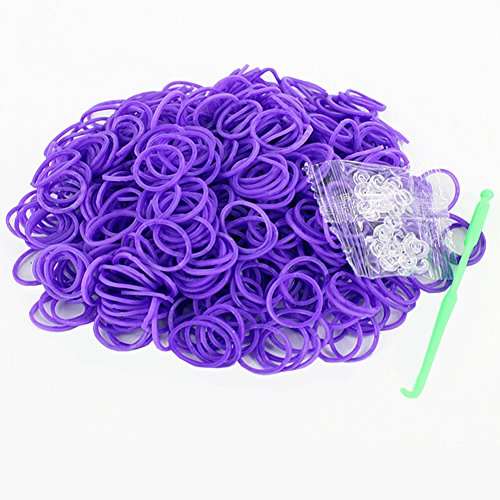 RAINSTORM Loom Rubber Bands Accessory Kit Set for Bracelets with S-clips and Plastic Loom Hook/Lead and Latex Free,Safe for Children/20 Beautiful Colors as Pictures and 600pc Rubber Bands for Each Color/Purple