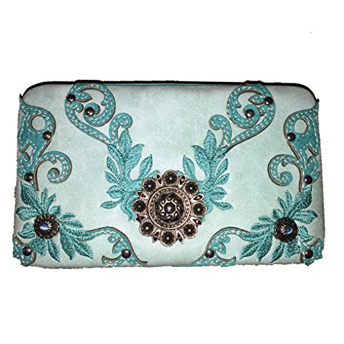 2015 New Style Rhinestone Concho Embroidered Leather Clip Wallet in Turq