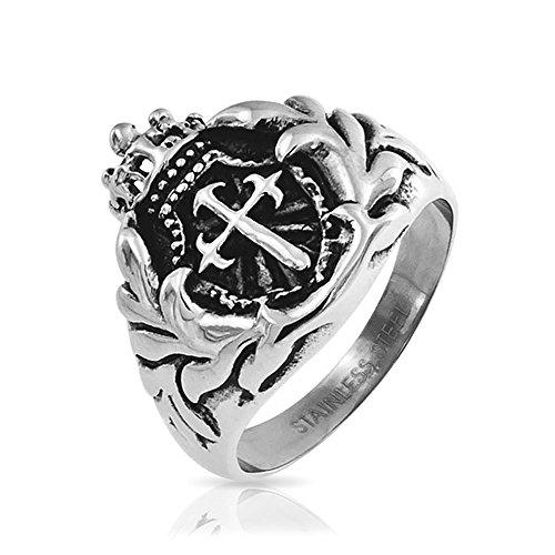 Bling Jewelry Mens Royal Crown Cavaliere Scudo Spada Croce anello in acciaio inox