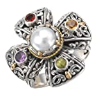 925 Silver, Cultured Mabe Pearl & Multi-Stone Cross Ring with 18k Gold Accents- Size 6