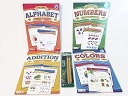 Ready for School Kindergarten Preschool Readiness Preparation Bundle Five Items: One Alphabet Workbook, One Numbers Workbook, One Addition Workbook, One Colors Workbook, One 2pk Ticonderoga Beginner Pencils