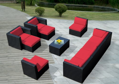ohana collection PN1005Red Genuine Ohana Outdoor Patio Wicker Furniture 11-Piece All Weather Gorgeous Couch Set with Free Patio Cover image