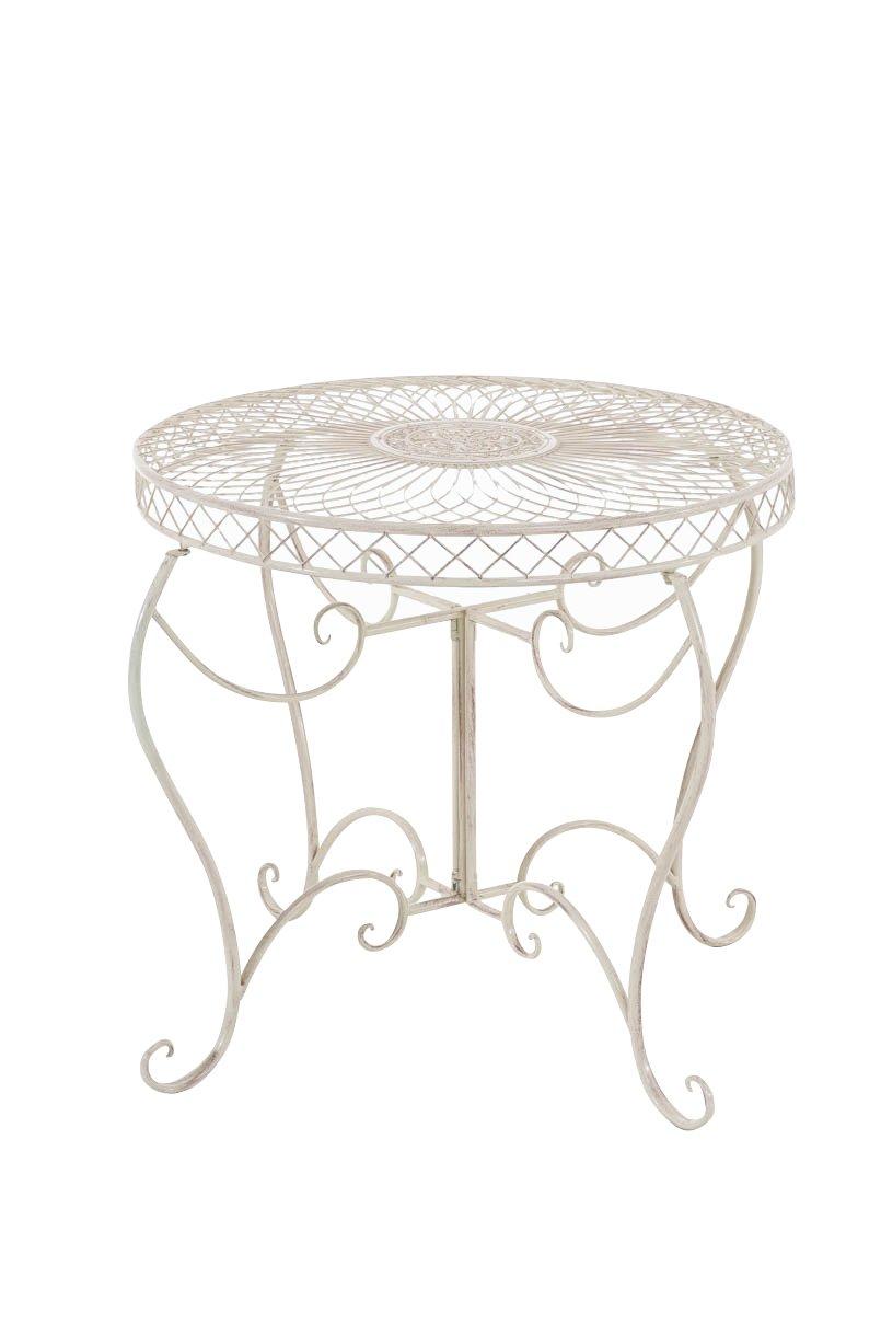 CLP runder Eisen-Tisch SHEELA in nostalgischem Design, Durchmesser Ø 88 cm, Höhe 70 cm (aus bis zu 6 Farben wählen) antik creme online bestellen
