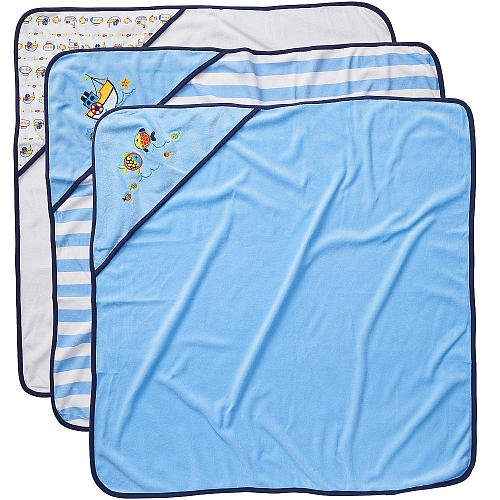 Koala Baby Boys' Hooded Towels 3 Pack - Blue Fish - 1