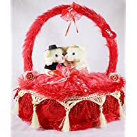 Red Decorated Heart Cake Plush Cushion With Love Couple Teddy Bears